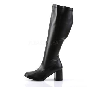 Preto Imitação de couro 7,5 cm GOGO-300WC botas para mulher bezerro largos