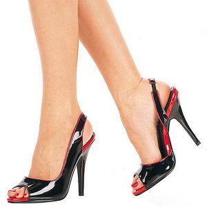 Preto Verniz 13 cm SEDUCE-117 High Heels Sandália Salto Alto