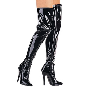Preto Verniz 15 cm DOMINA-3000 bota acima do joelho
