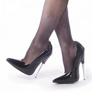 Preto Verniz 15 cm SCREAM-01 Sapatos Scarpin Stiletto Salto Agulha