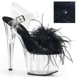 Preto marabu penas 18 cm ADORE-708MF sapatos de pole dance
