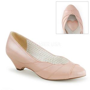 Rosa 4 cm retro vintage LULU-05 Pinup sapatos scarpin com saltos baixos