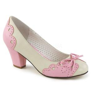 Rosa 6,5 cm WIGGLE-17 Pinup sapatos scarpin com salto grosso
