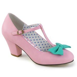 Rosa 6,5 cm WIGGLE-50 Pinup sapatos scarpin com salto grosso