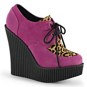 Rosa Imitação Couro CREEPER-304 sapatos creepers cunha altos
