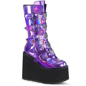 Roxo Holograma 14 cm SWING-230 botas cyberpunk plataforma