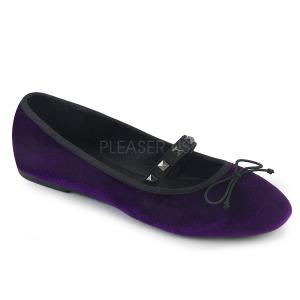 Roxo Veludo DEMONIA DRAC-07 sapatos de bailarinas baixos