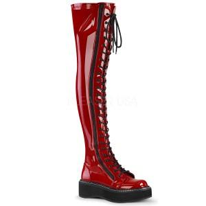 Vermelho Envernizado 5 cm EMILY-375 botas altas da coxa com ataduras