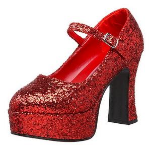 Vermelho Glitter 11 cm MARYJANE-50G Plataforma Scarpin Mary Jane