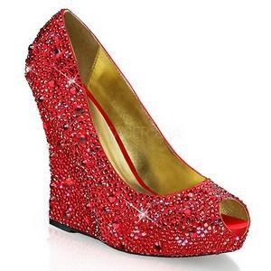 Vermelho Pedra Cristal 13,5 cm ISABELLE-18 Sapato Scarpin Cunha Alto