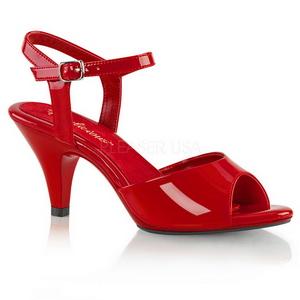 Vermelho Verniz 8 cm BELLE-309 Sandália Feminina Salto Alto