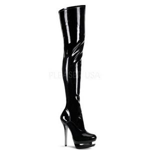 Verniz 15,5 cm BLONDIE-3000 bota plataforma acima do joelho