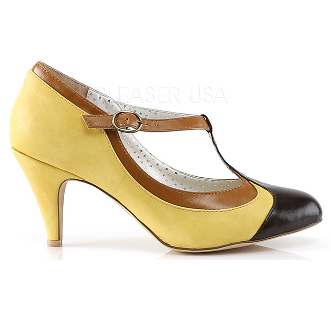 Amarelo 8 cm PEACH 03 Pinup sapatos scarpin com saltos baixos