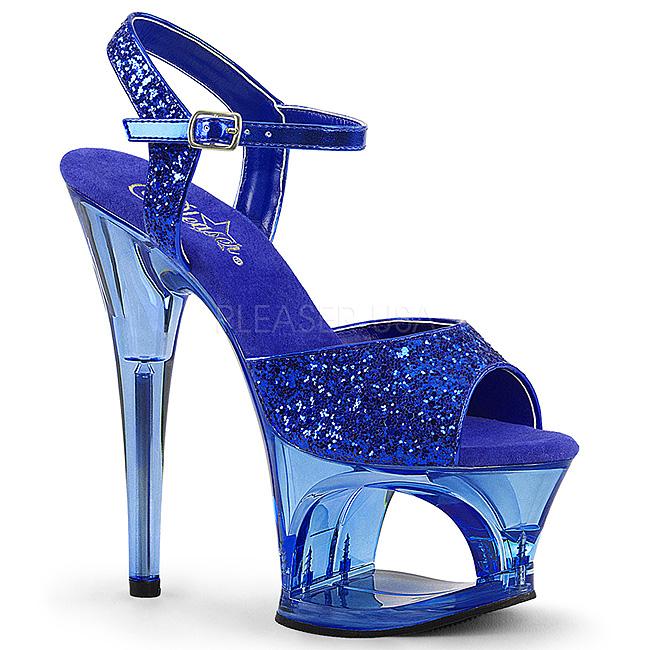 f204aead8 Azul 18 cm MOON-710GT brilho plataforma salto alto mulher