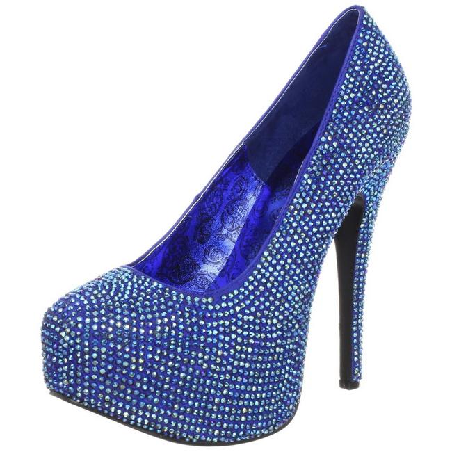 94b5c6171 Azul Pedra Cristal 14,5 cm TEEZE-06R Plataforma Scarpin Salto Alto