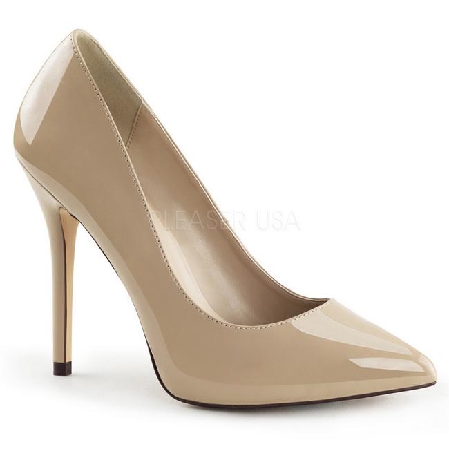 0161ebbb0 Bege Verniz 13 cm AMUSE-20 Sapatos Scarpin Salto Agulha