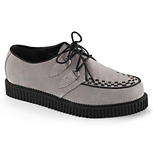 0861459a4 Cinza Camurca 2,5 cm CREEPER-602S Creepers Sapatos Homem