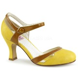 Amarelo 7,5 cm retro vintage FLAPPER-27 Pinup sapatos scarpin com saltos baixos