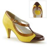 Amarelo 8 cm retro vintage PEACH-03 Pinup sapatos scarpin com saltos baixos