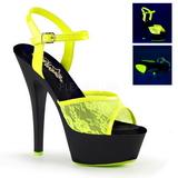 Amarelo tecido de renda 15 cm KISS-209ML Sandálias Plataforma Neon