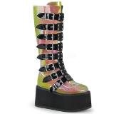 Arco íris 9 cm DAMNED-318 plataforma botas mulher com fivelas