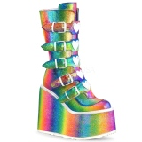 Arco íris Glitter 14 cm SWING-230 botas cyberpunk plataforma
