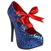 Azuis Brilho 14,5 cm TEEZE-10G Concealed burlesque Sapatos Scarpin Salto Agulha