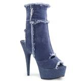 Azul 15 cm DELIGHT-1030 tênis com salto alto de linho