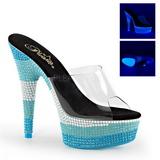 Azul 15 cm DELIGHT-601UVS neon plataforma tamancos mulher