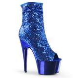 Azul 18 cm ADORE-1008SQ botinha mulher com lantejoulas