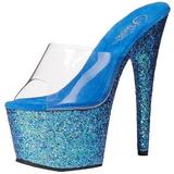Azul 18 cm ADORE-701LG brilho plataforma tamancos mulher