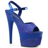 Azul 18 cm ADORE-709-2G brilho plataforma sandálias mulher