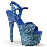 Azul 18 cm ADORE-710LG brilho plataforma salto alto mulher