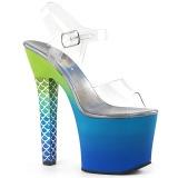 Azul 18 cm ARIEL-708OMBRE Acrílico plataforma salto alto mulher