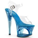 Azul 18 cm MOON-708GFT brilho plataforma sandálias mulher