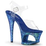 Azul 18 cm MOON-708LG brilho plataforma salto alto mulher