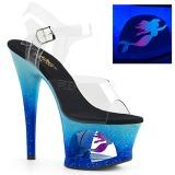 Azul 18 cm MOON-708MER Neon plataforma salto alto mulher