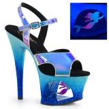 Azul 18 cm MOON-711MER Neon plataforma salto alto mulher