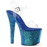 Azul 18 cm RADIANT-708LG sapatos de salto alto brilho