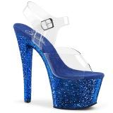 Azul 18 cm SKY-308LG brilho plataforma salto alto mulher
