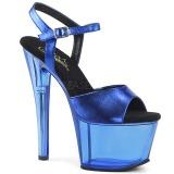 Azul 18 cm SKY-309MT Acrílico Plataforma Sandálias Salto Agulha