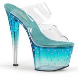 Azul 18 cm STARDUST-702T Pedra strass plataforma tamancos mulher