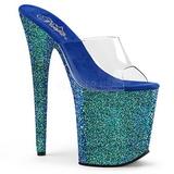 Azul 20 cm FLAMINGO-801LG brilho plataforma tamancos mulher