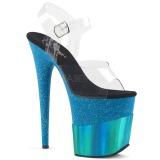 Azul 20 cm FLAMINGO-808-2HGM brilho plataforma sandálias mulher