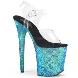 Azul 20 cm FLAMINGO-808MSLG brilho plataforma sandálias mulher
