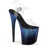 Azul 20 cm FLAMINGO-808SS brilho plataforma sandálias mulher