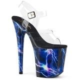 Azul 20 cm FLAMINGO-808STORM Holograma plataforma salto alto mulher
