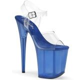 Azul 20 cm FLAMINGO-808TB Acrílico Plataforma Sandálias Salto Agulha
