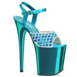 Azul 20 cm FLAMINGO-809MMRS brilho plataforma sandálias mulher