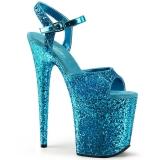 Azul 20 cm FLAMINGO-810LG brilho plataforma salto alto mulher